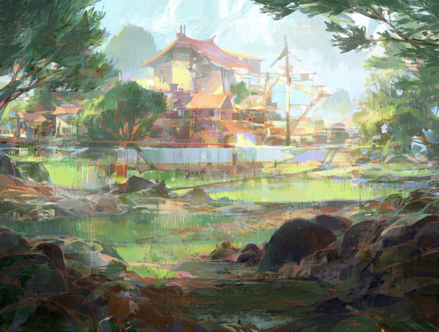 theo prins digital painting concept art Personal work Impressionism house