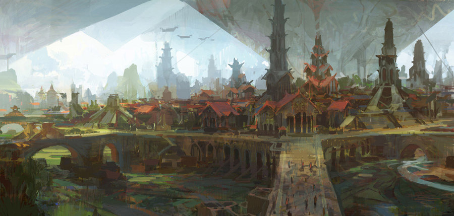theo prins digital painting Personal work Old City