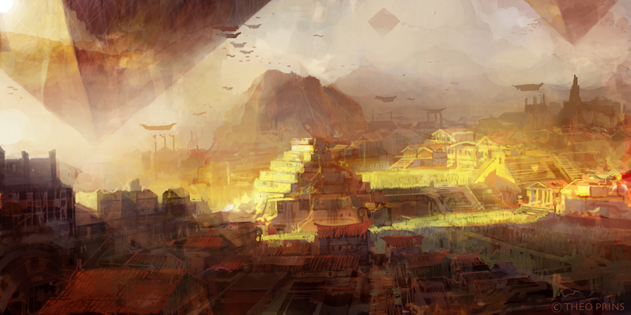 theo prins digital painting concept art Personal work What if? old city