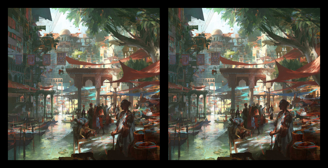 theo prins digital painting concept art Personal work 3D Stereoscopic Waterway