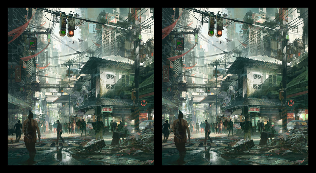 theo prins digital painting concept art Personal work 3D Stereoscopic Old City