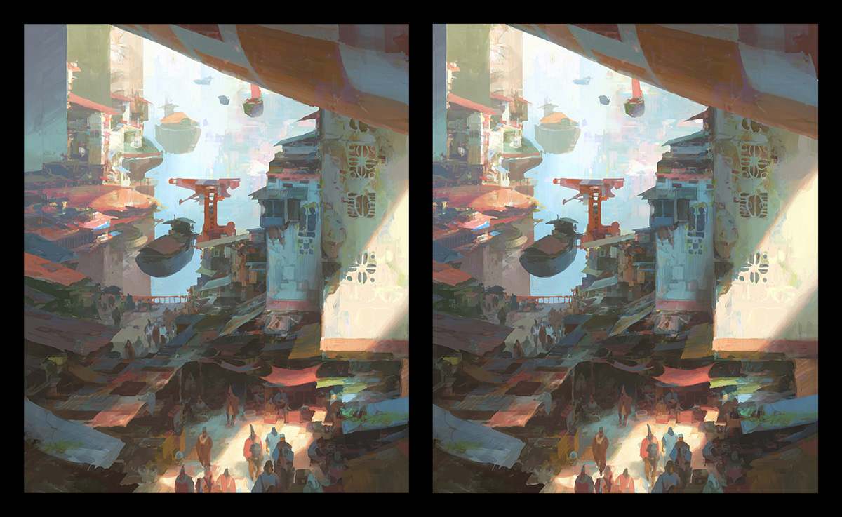 theo prins digital painting concept art Personal work 3D Stereoscopic Docks