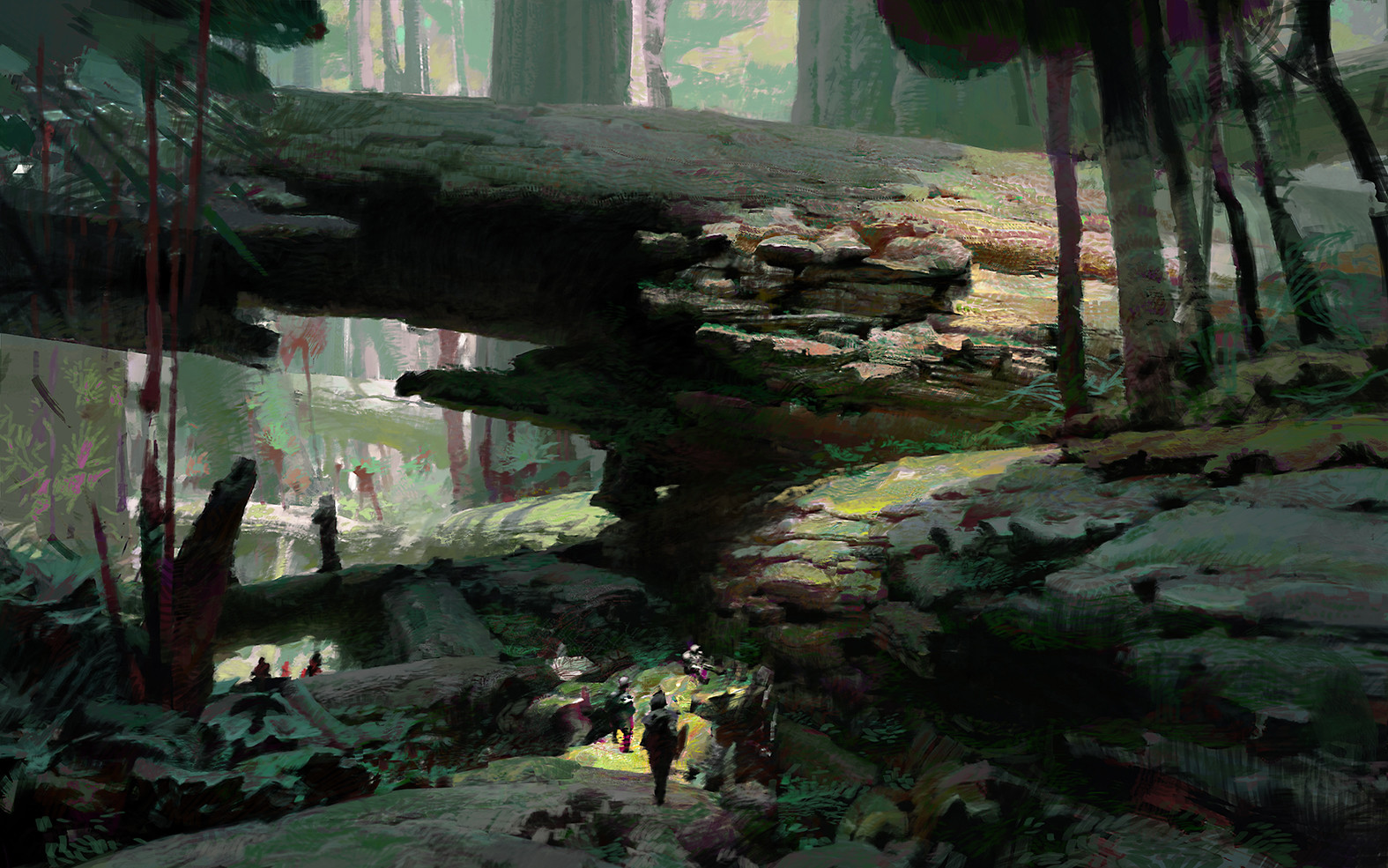 theo prins digital painting concept art guild wars 2 Fallen Logs Heart of Thorns