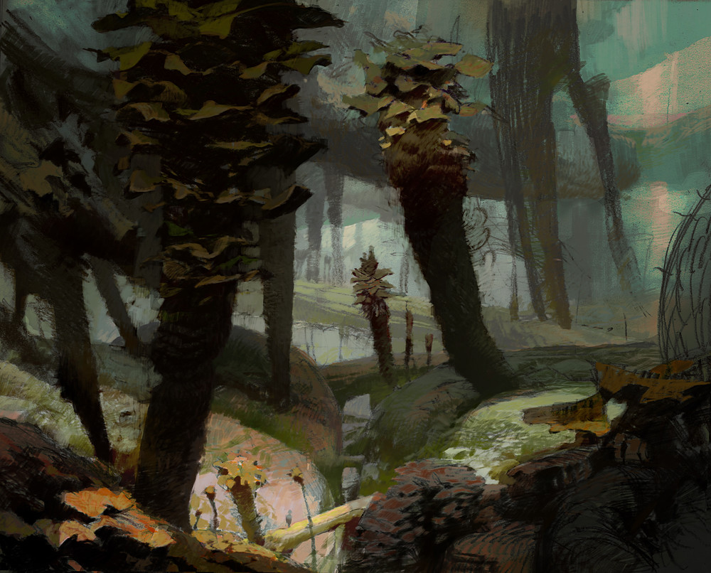 theo prins digital painting concept art guild wars 2 Jungle scene 2 Heart of Thorns