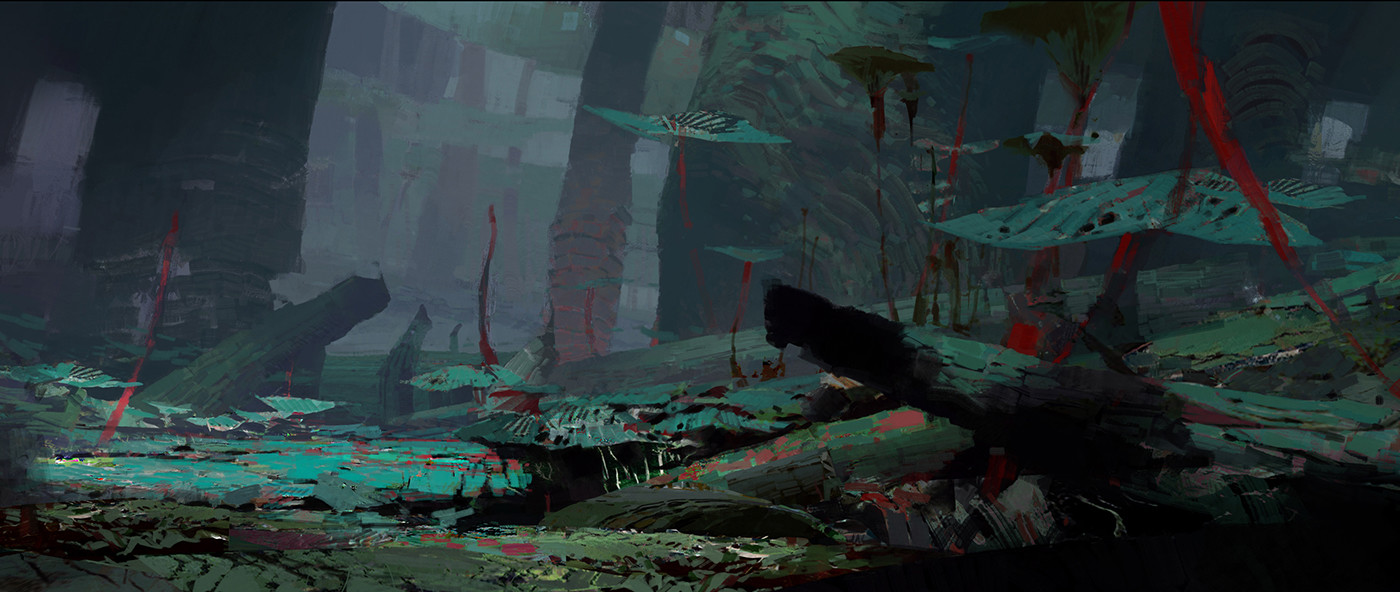 theo prins digital painting concept art guild wars 2 Jungle Heart of the thorne
