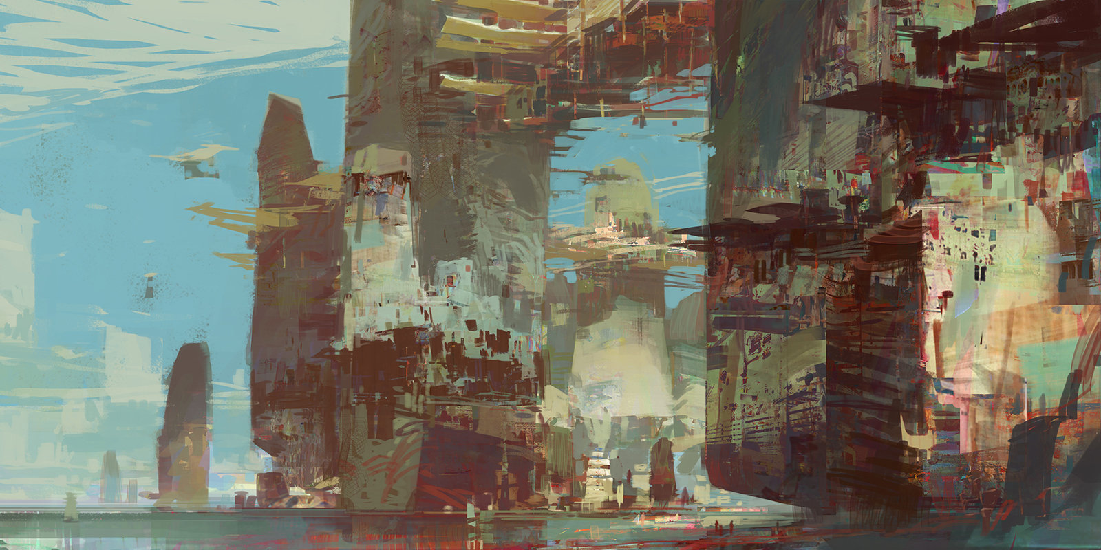 theo prins digital painting concept art guild wars 2 Kite City