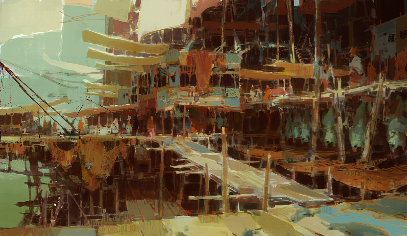 theo prins digital painting concept art guild wars 2 Kite City 2