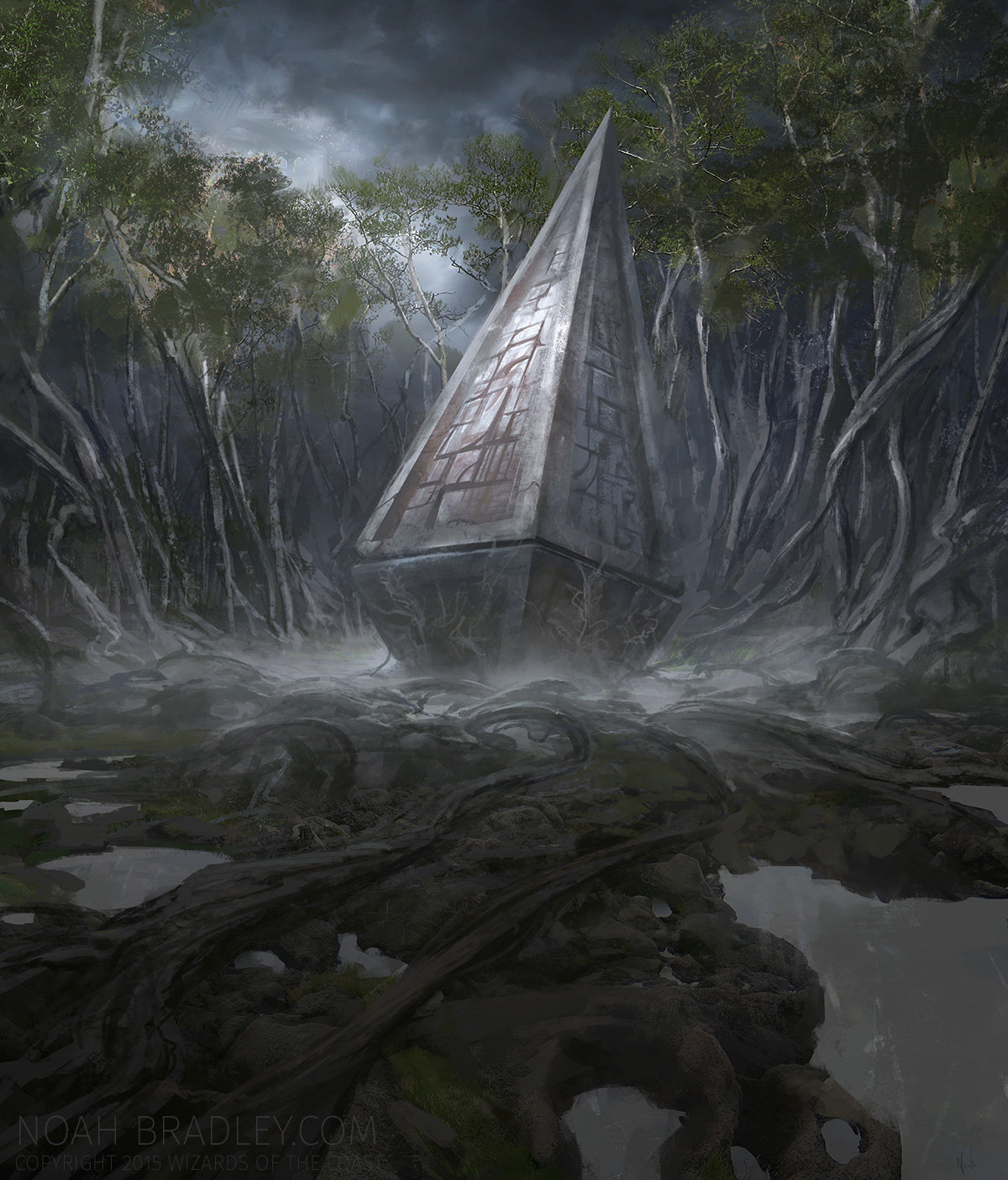 Noah Bradley Digital Painting Illustration Overgrown Tomb