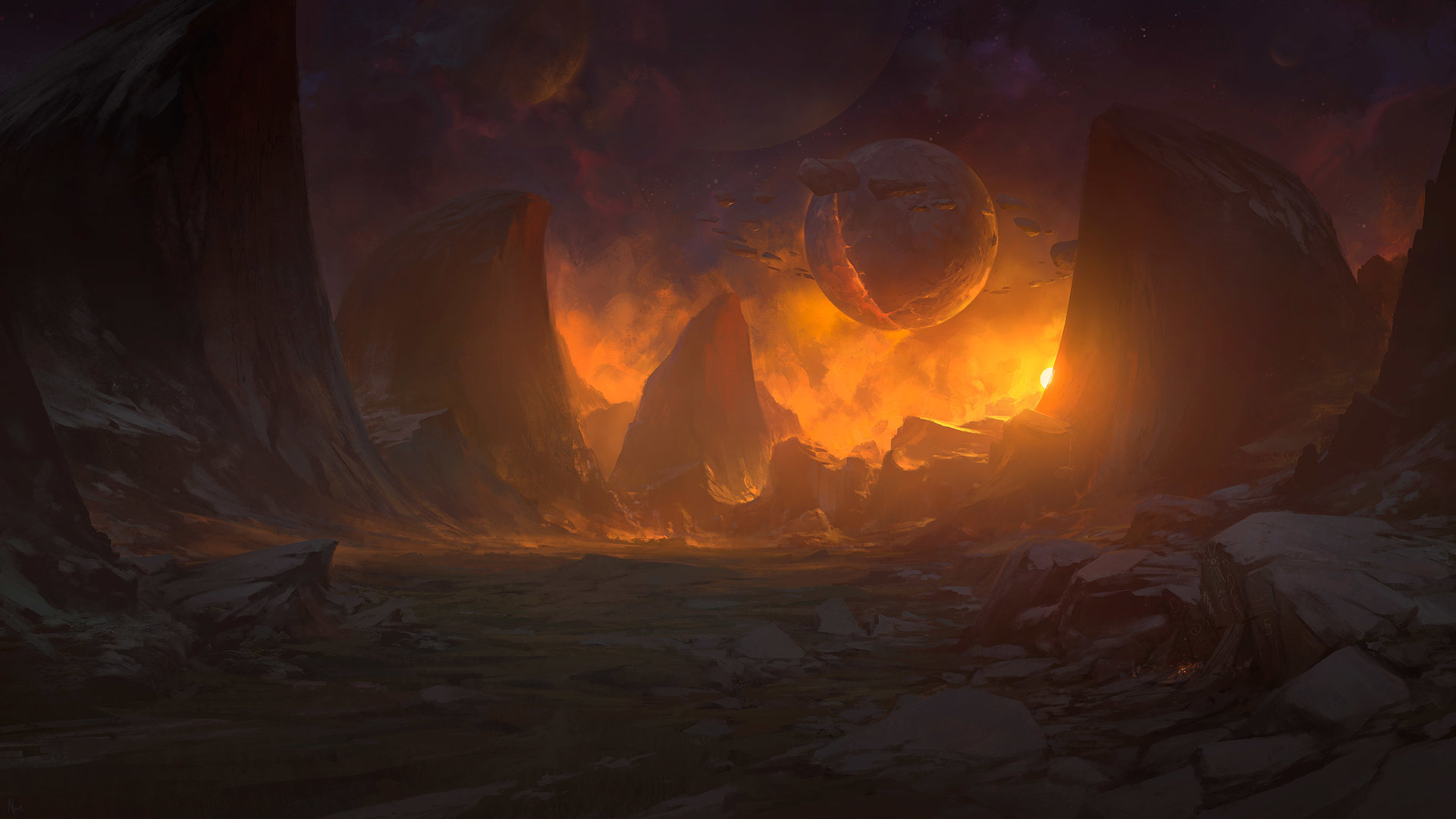 Noah Bradley Digital Painting Illustration A Tear for Every Hero in Hell