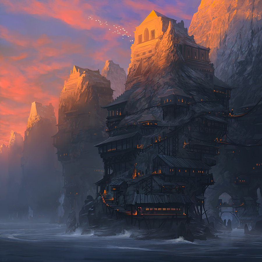 Noah Bradley Digital Painting Illustration House on Water