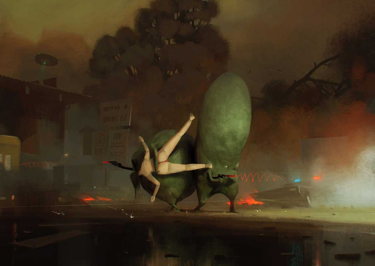Sergey Kolesov Digital Painting Illustration Personal Work Alien taking woman
