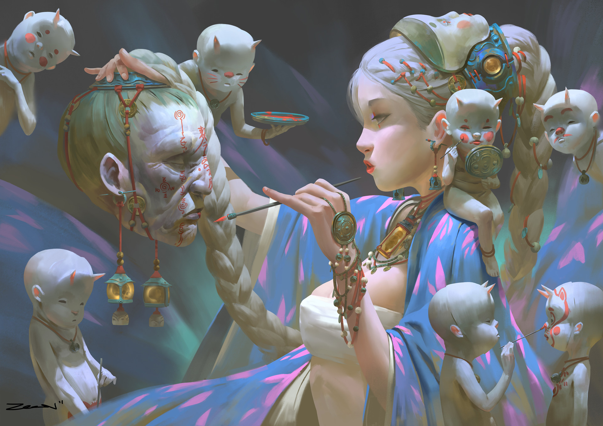 Zeen Chin Digital Painting Illustration Witch Incantation Dead Head