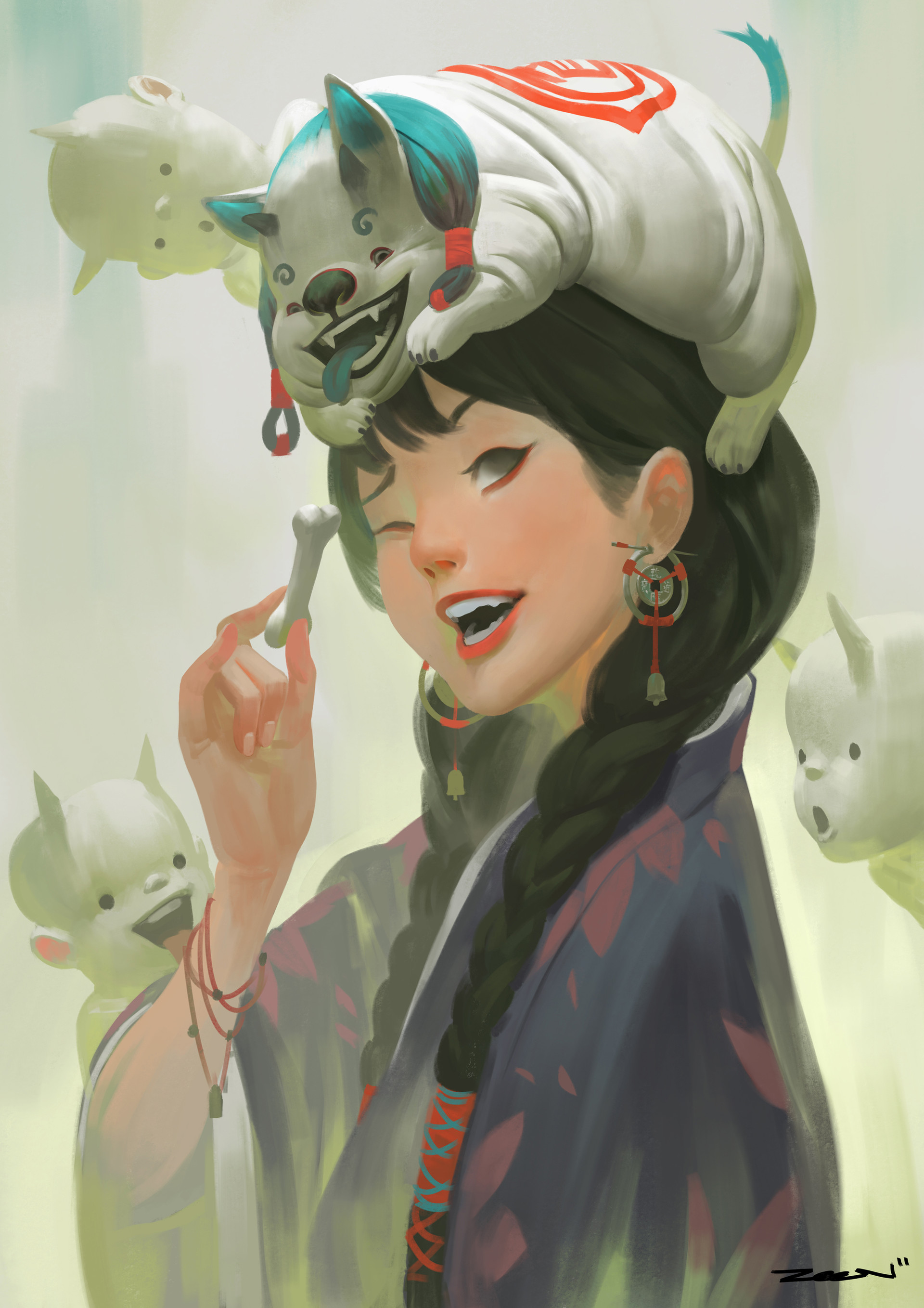 Zeen Chin Digital Painting Illustration Dog and the Lady