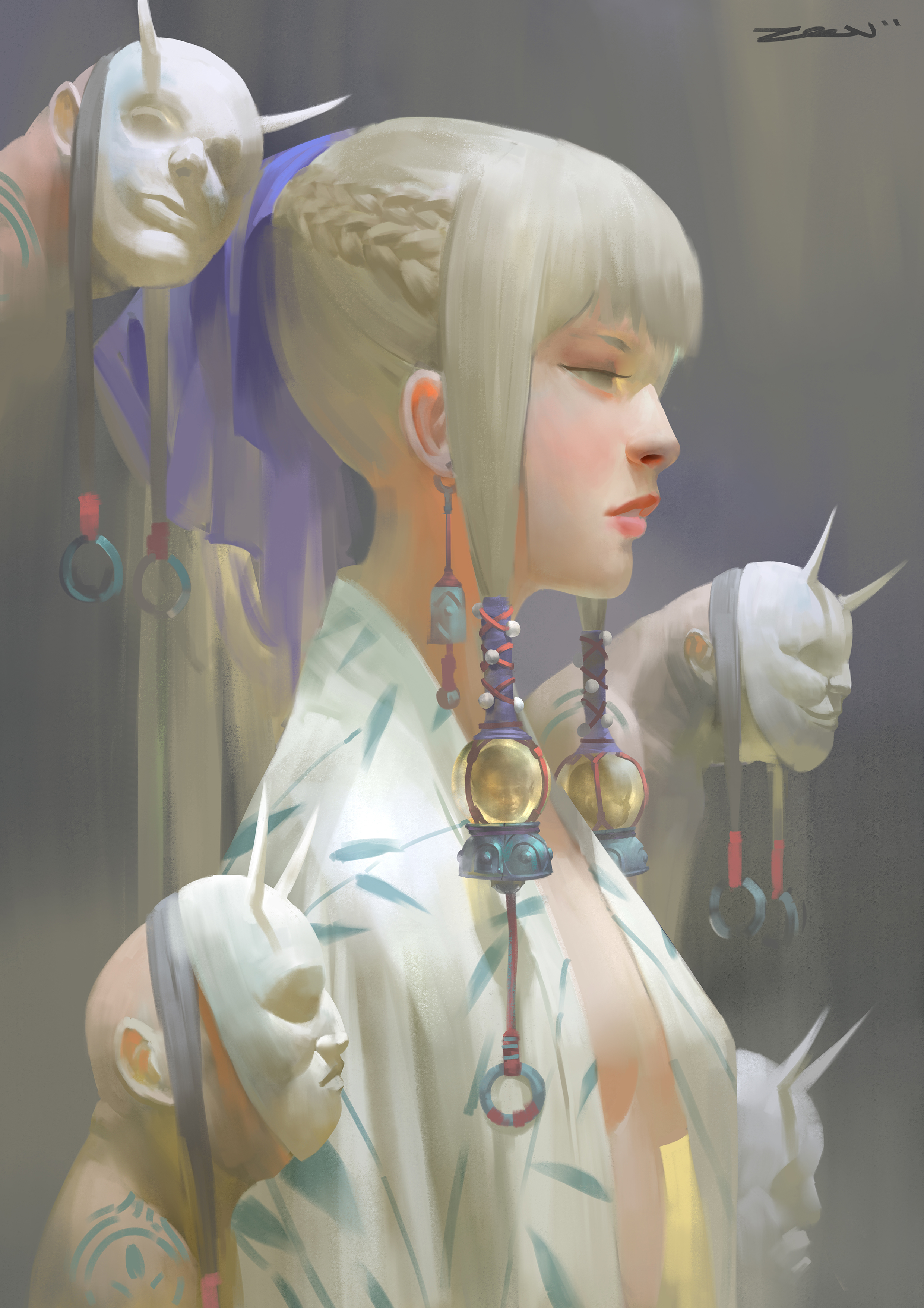 Zeen Chin Digital Painting Illustration Blond Ghost