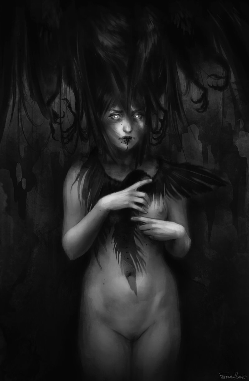 Fernanda_Suarez_digital_painting_illustration_character_blackandwhite