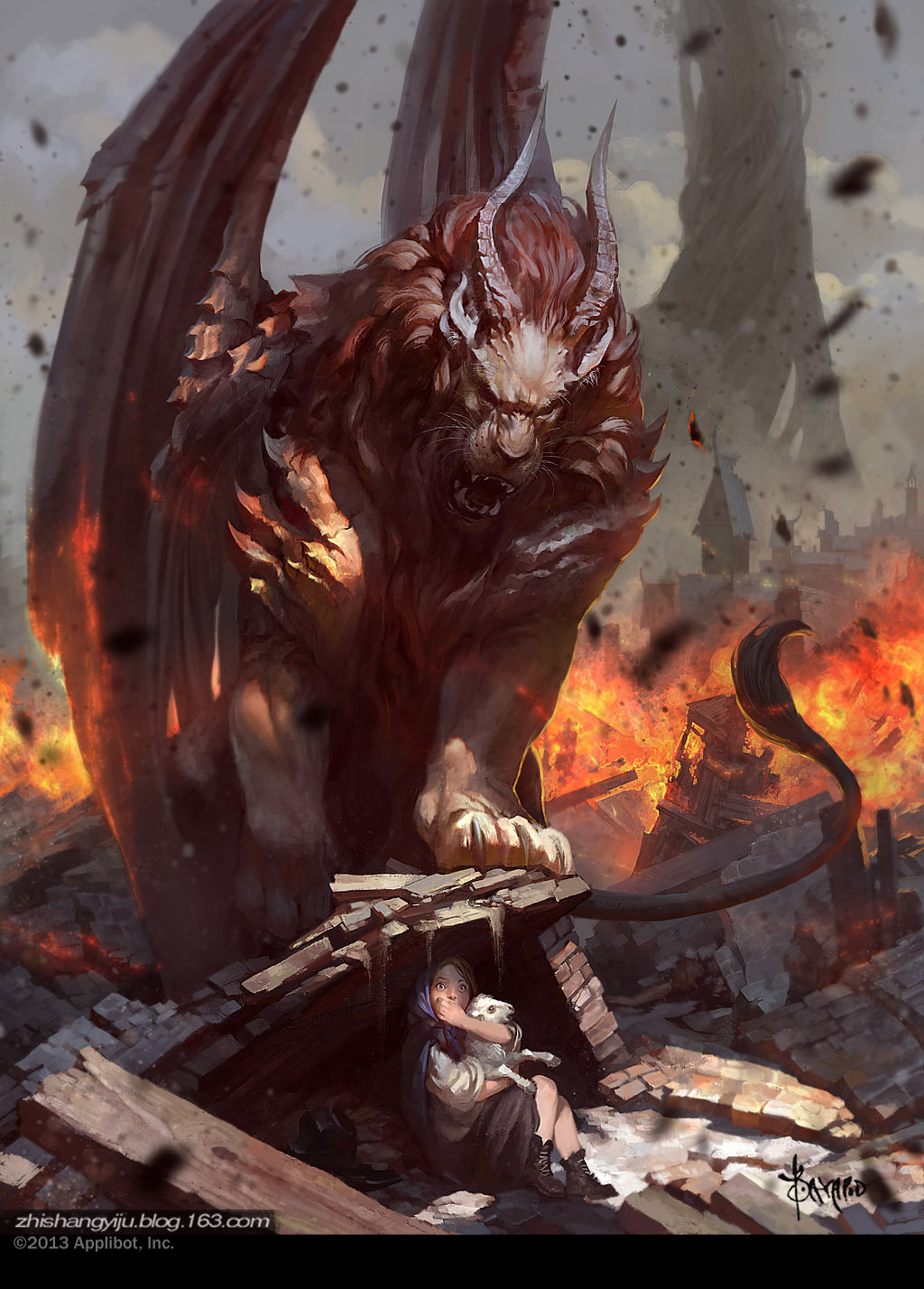 Bayard Wu Digital Painting Illustration Fantasy Manticore Survivor