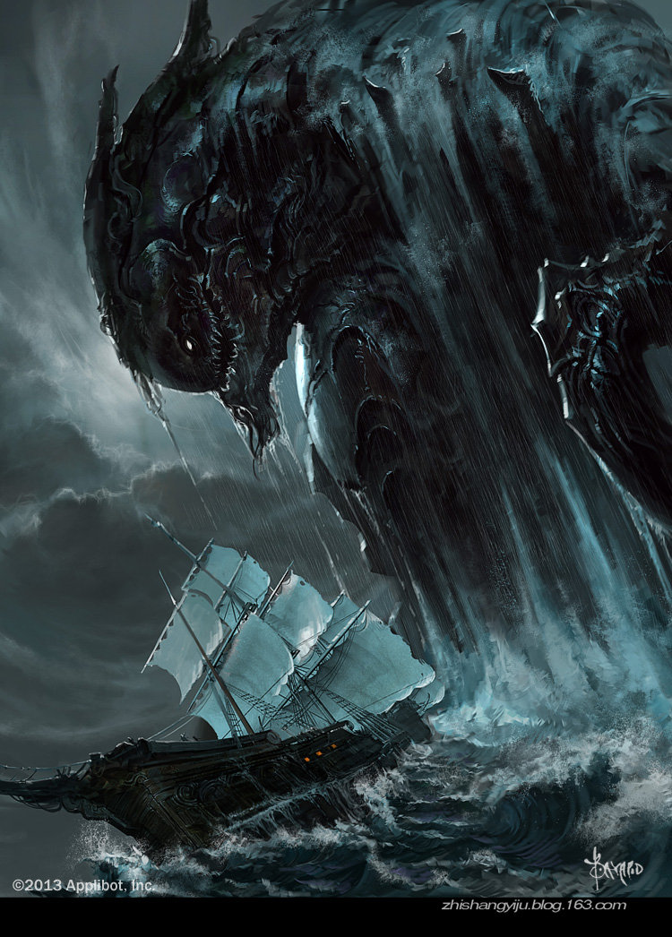 Bayard Wu Digital Painting Illustration Fantasy Monster Deep Sea