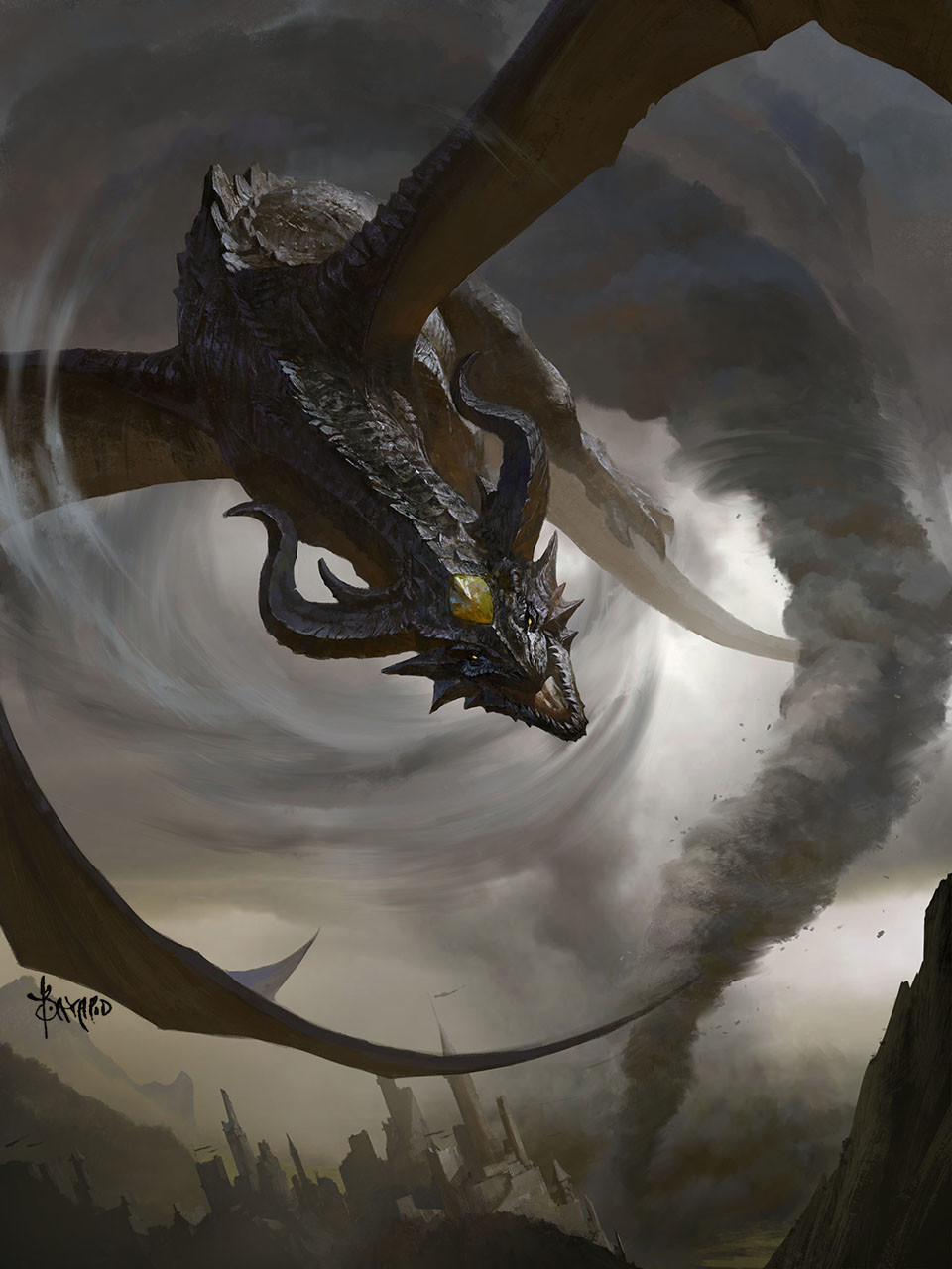 Bayard Wu Digital Painting Illustration Fantasy Dragon Storm