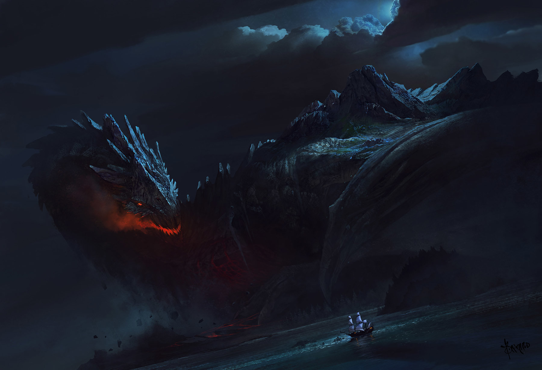 Bayard Wu Digital Painting Illustration Fantasy Dragon Island Sea Boat