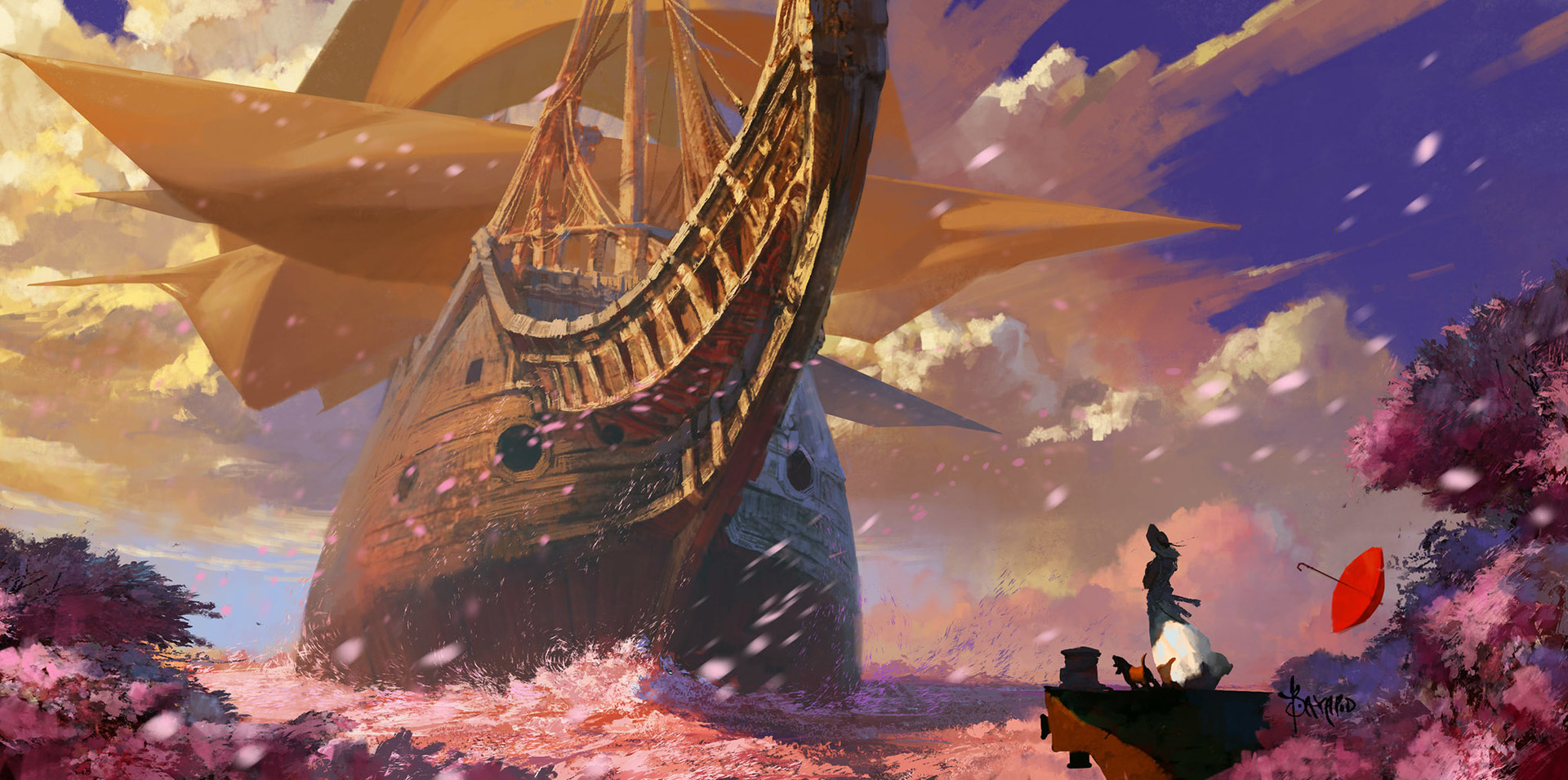 Bayard Wu Digital Painting Illustration Fantasy Ship Boat Sakura Flowers Sea