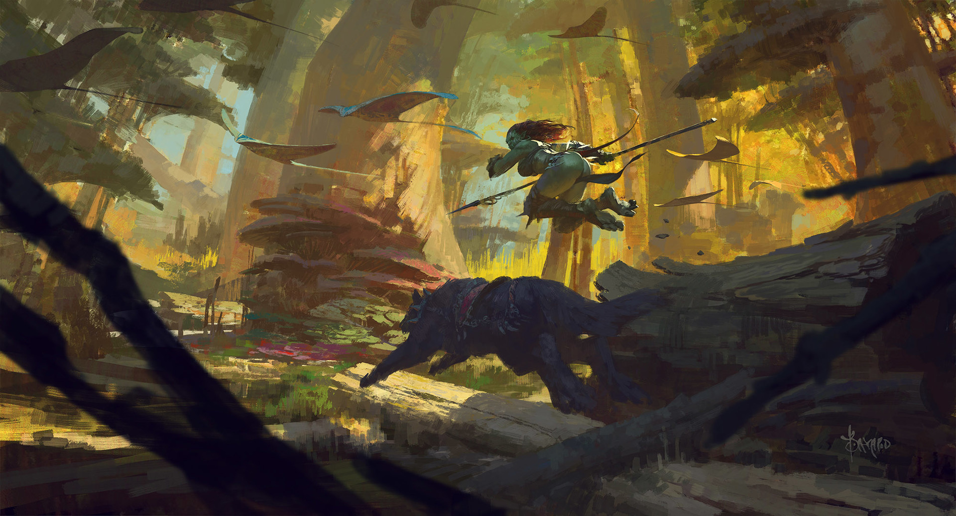 Bayard Wu Digital Painting Illustration Fantasy Orc Huntress Autumn