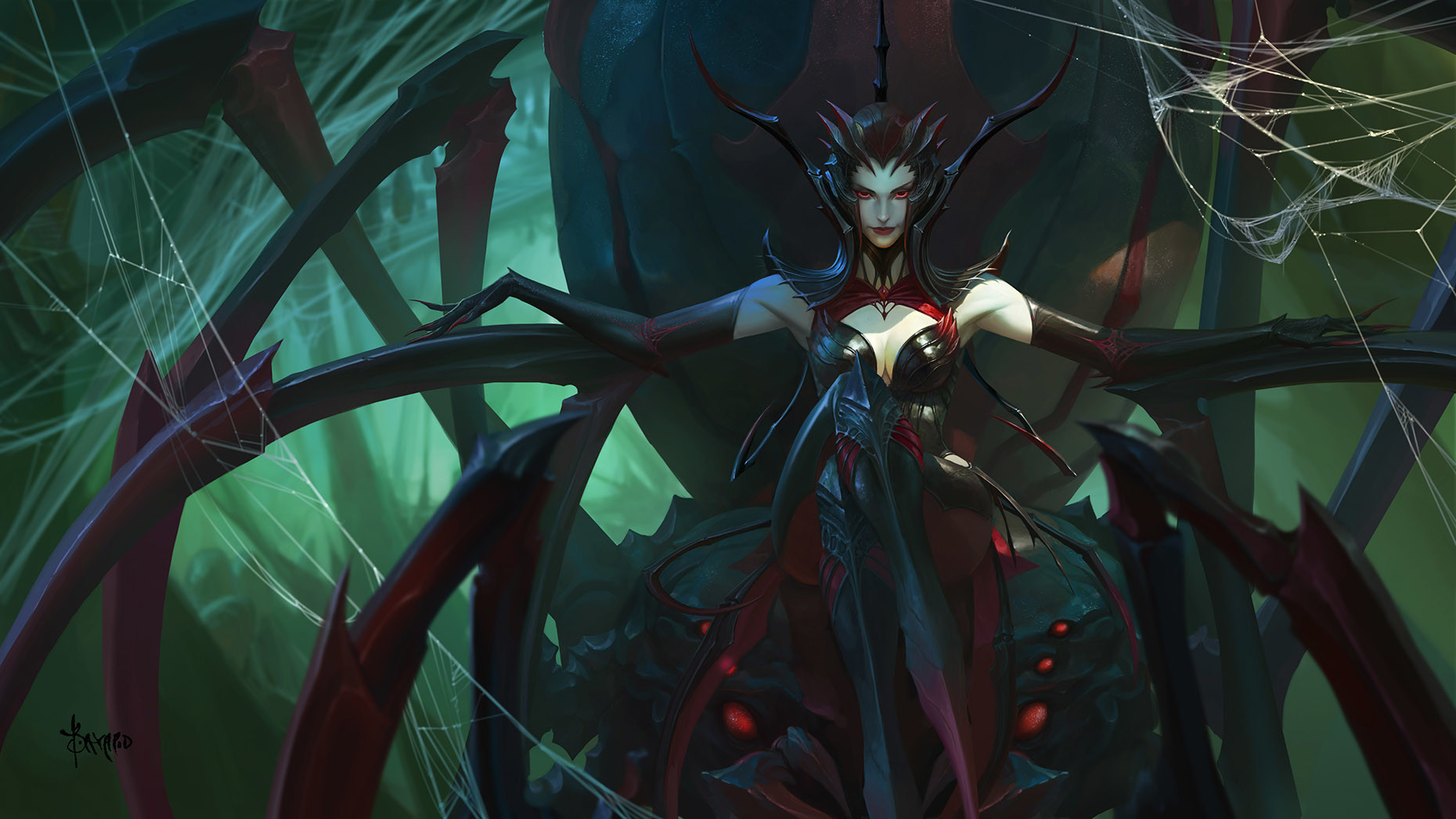 Bayard Wu Digital Painting Illustration Fantasy Spider Queen Elise League Of Legends