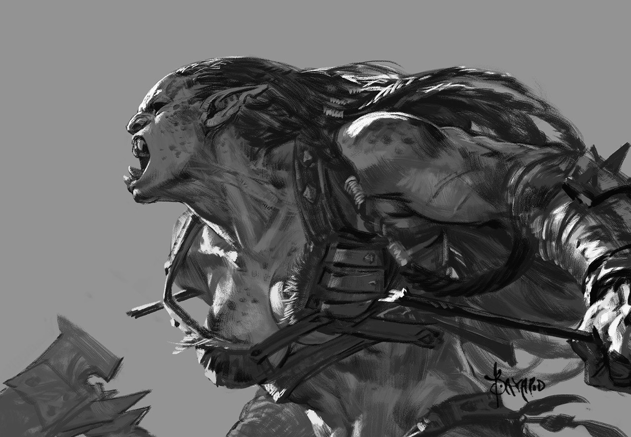 Bayard Wu Digital Painting Illustration Fantasy Orc Value Sketch Warrior