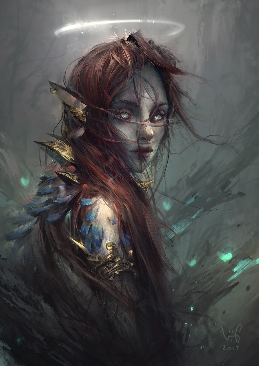 le vuong digital painting illustration Hayla woman elf