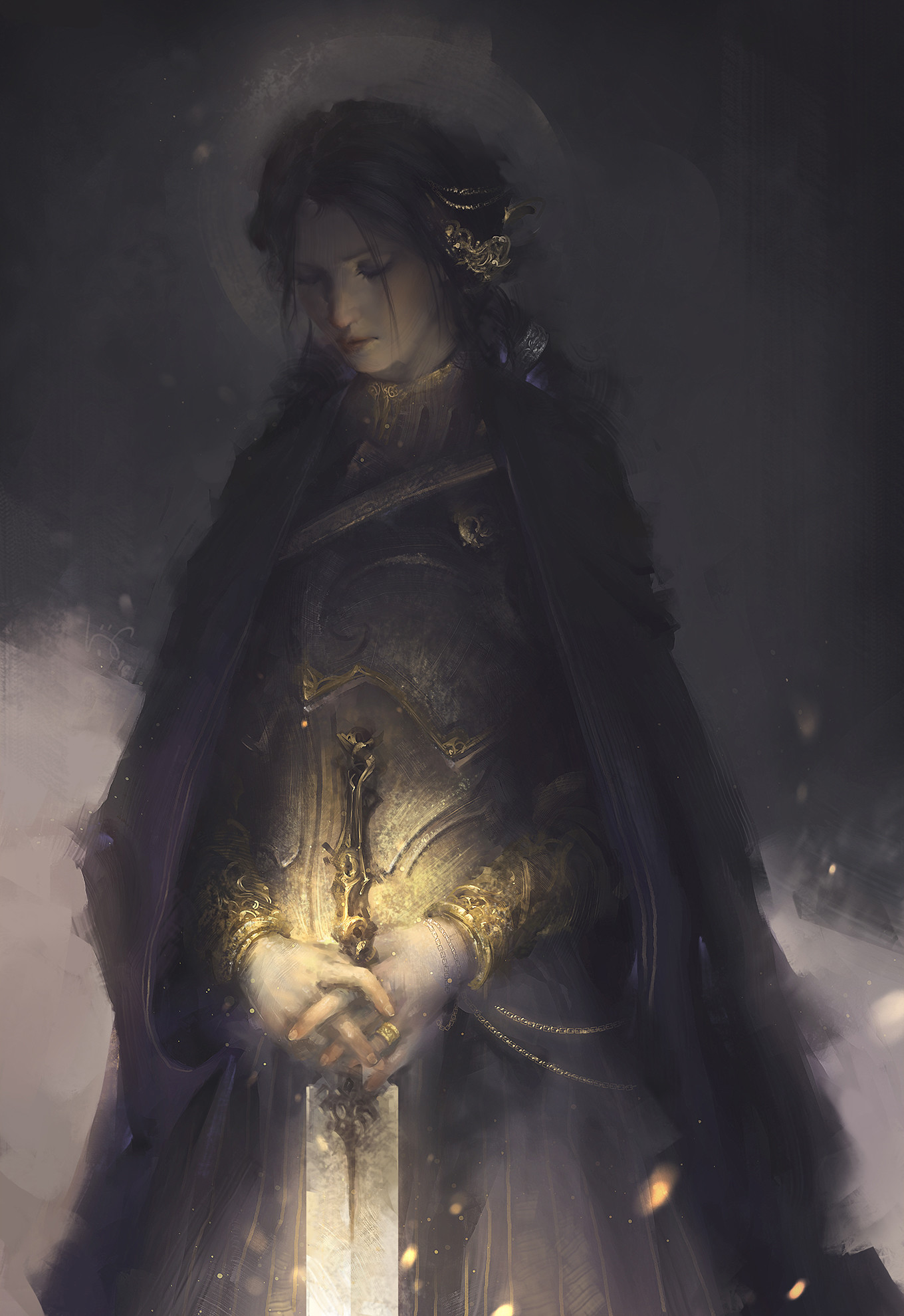 le vuong digital painting illustration Woman Golden Flower Sword