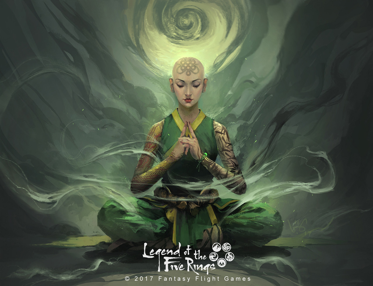 le vuong digital painting illustration Legend of the five Rings Togashi Yokuni green man
