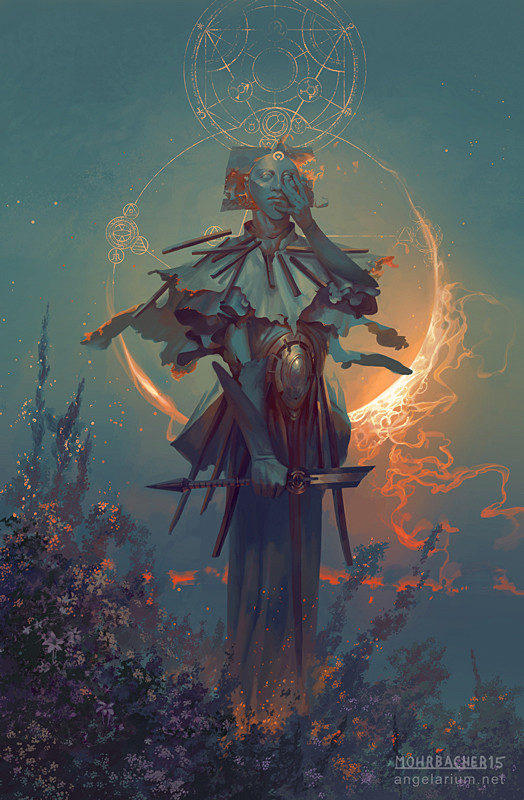 peter mohrbacher digital painting illustration Samshiel Angel of the Eclipse