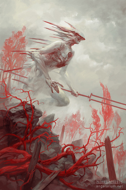 peter mohrbacher digital painting illustration Gadreel Angel of War