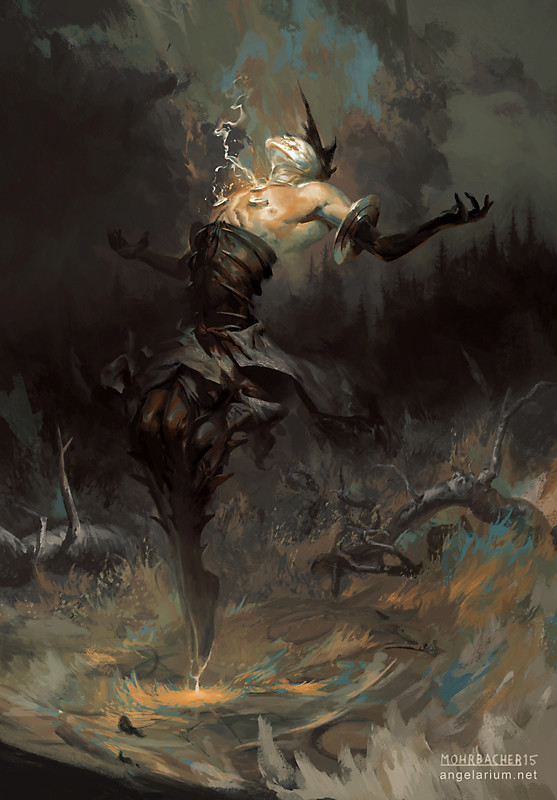 peter mohrbacher digital painting illustration Baraqiel Angel of Lightning