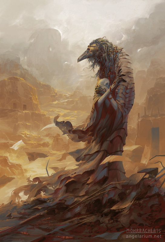 peter mohrbacher digital painting illustration Asbeel Angel of Ruin