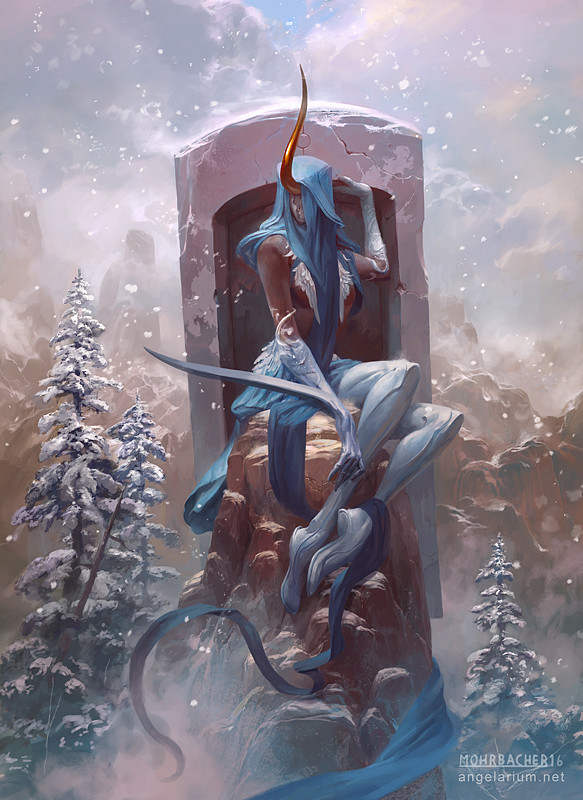peter mohrbacher digital painting illustration Shateiel Angel of Silence
