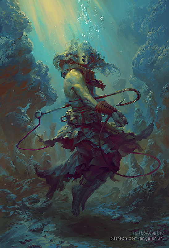peter mohrbacher digital painting illustration Rahab Angel of the Deep