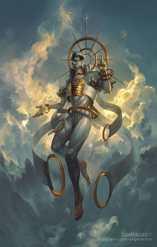 peter mohrbacher digital painting illustration Sahaqiel Angel of the Sky