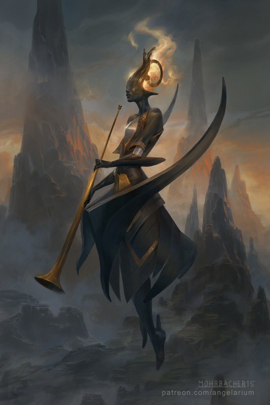 peter mohrbacher digital painting illustration Israfel Angel of Song