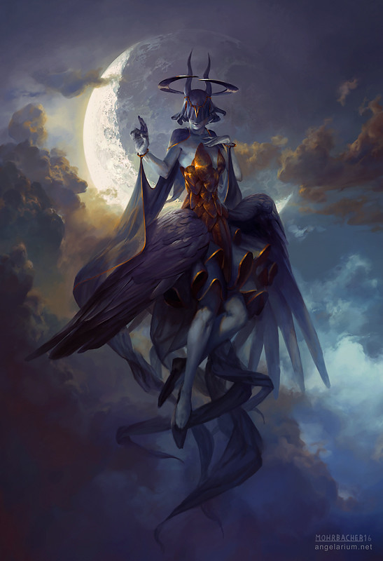 peter mohrbacher digital painting illustration Leliel Angel of Night