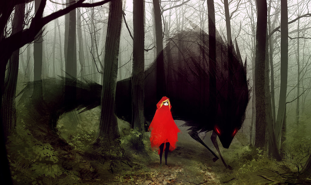 Deadslug_digital_painting_illustration_redridinghood_wolf_forest