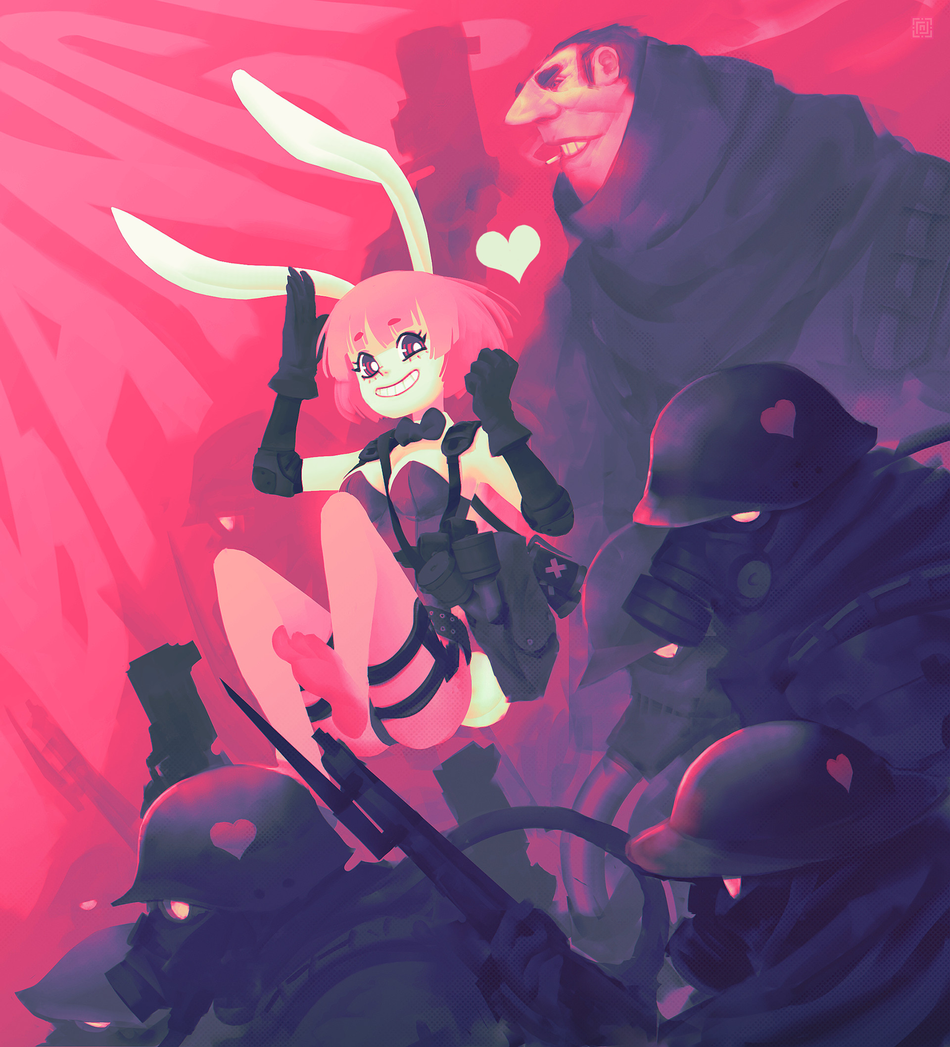 Deadslug_digital_painting_illustration_girl_soldiers_pink_bunny