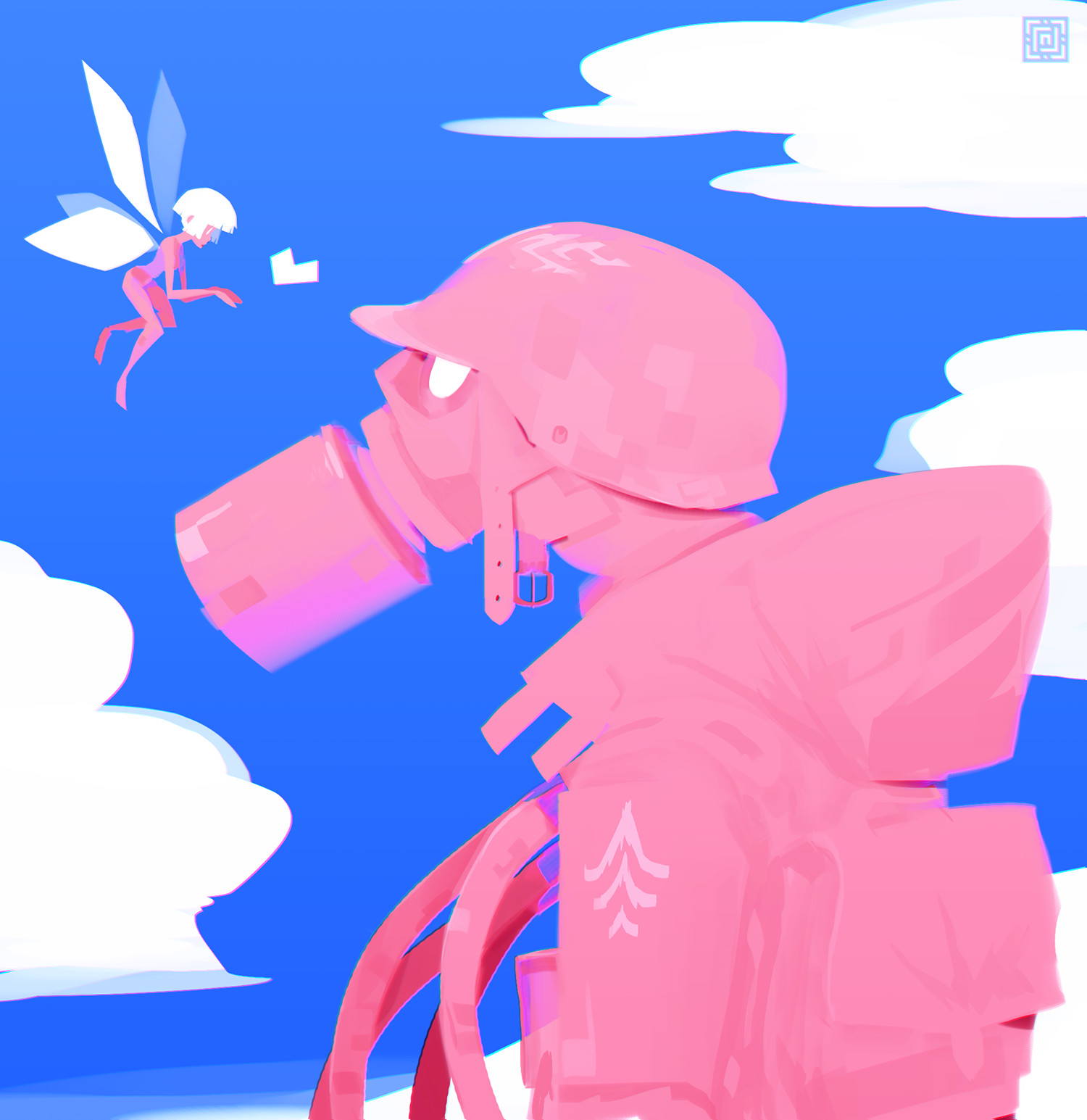 Deadslug_digital_painting_illustration_pink_soldier_helmet_fairy