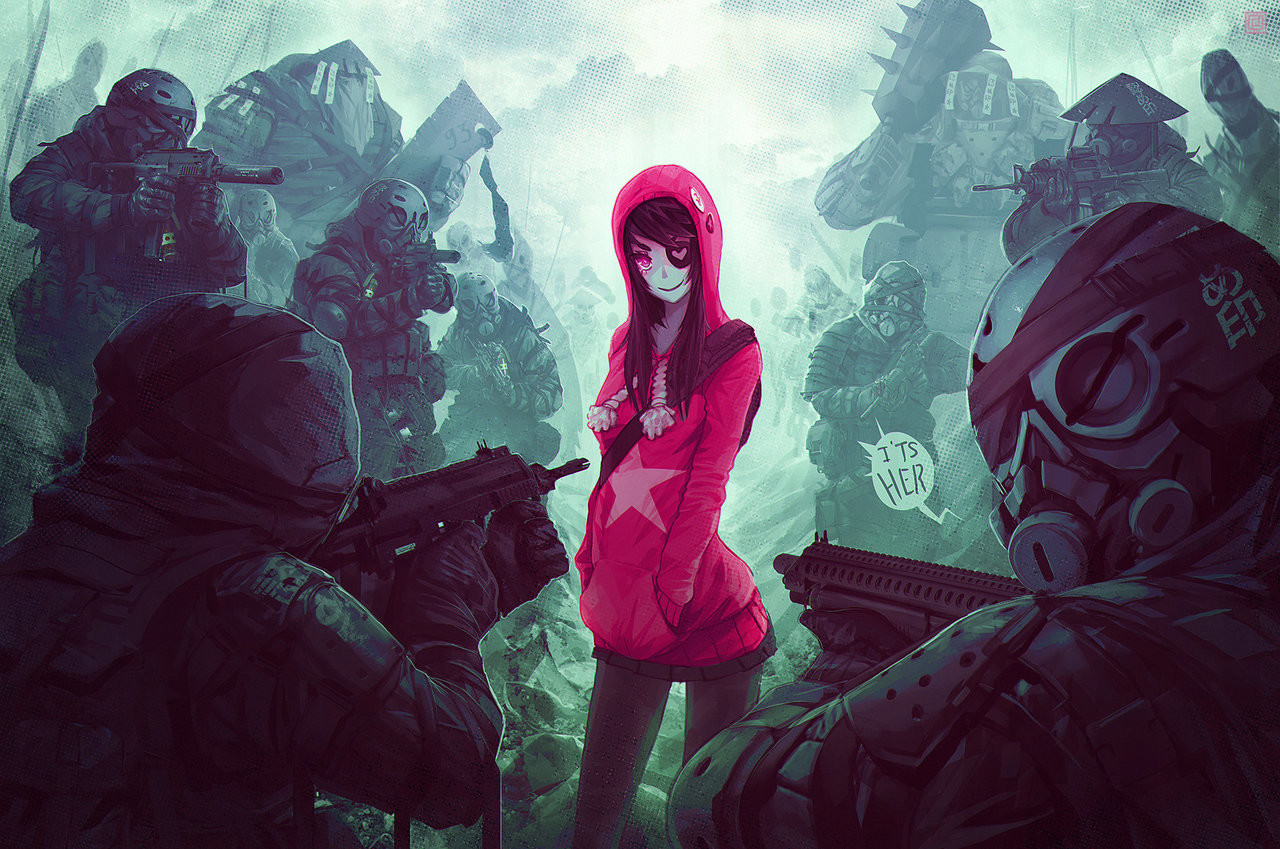 Deadslug_digital_painting_illustration_pink_girl_soldiers