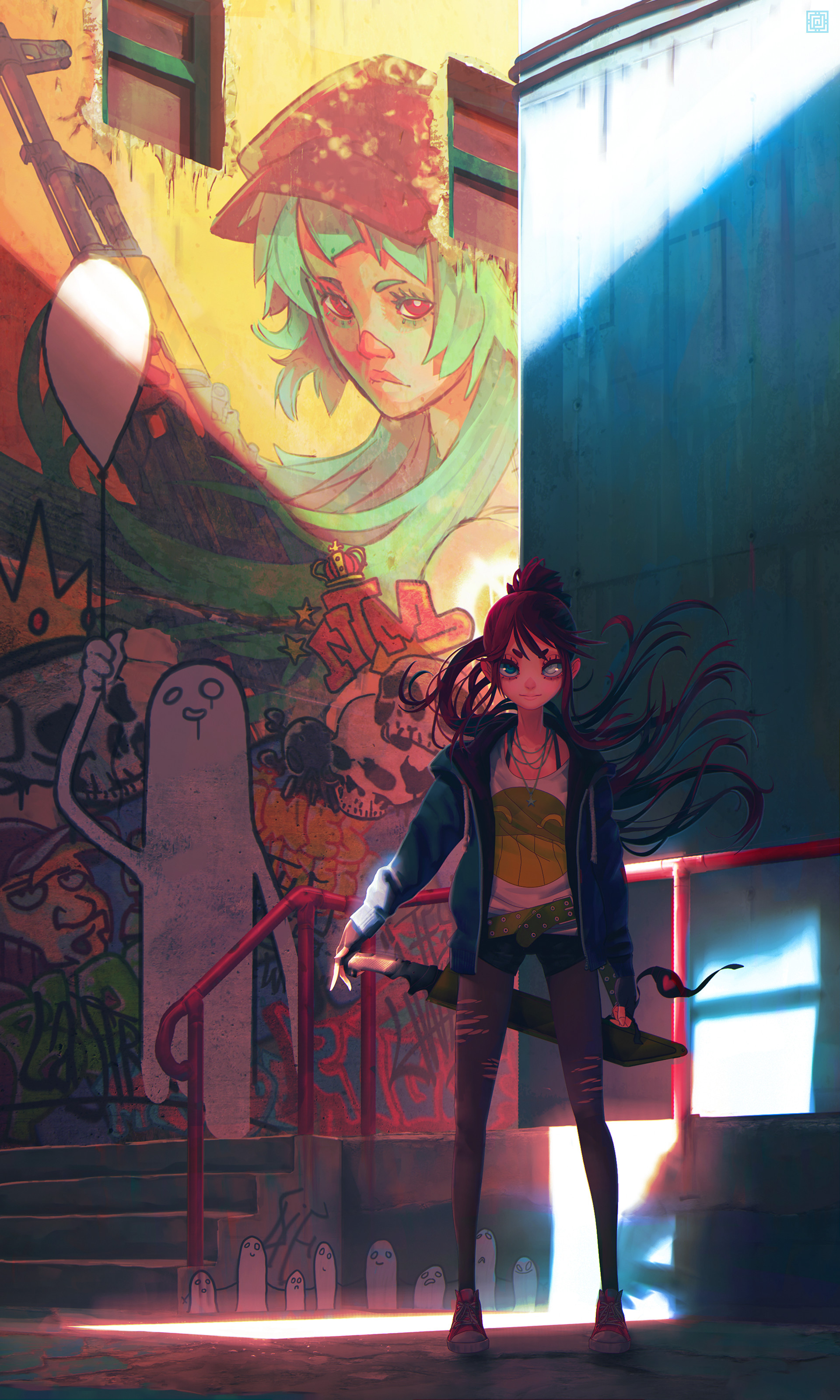 Deadslug_digital_painting_illustration_girl_street_city_color
