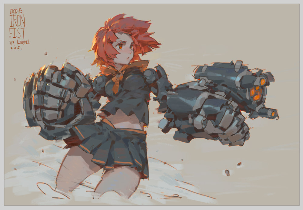 Krenz_Cushart_digital_painting_illustration_girl_punch_iron_fist