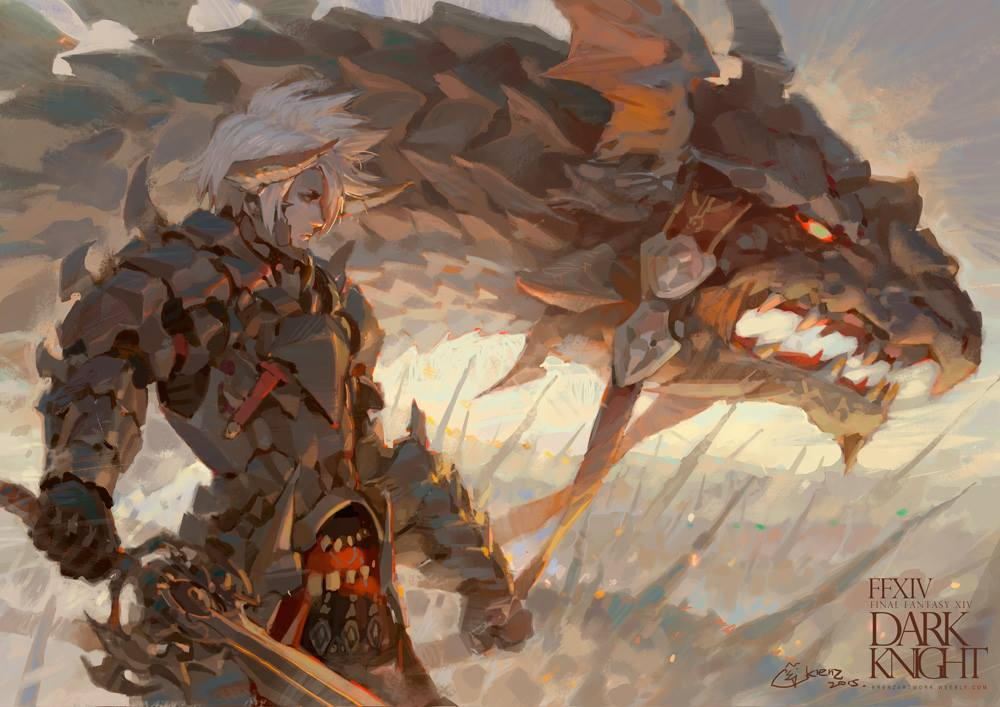 Krenz_Cushart_digital_painting_illustration_knight_dragon_finalfantasy