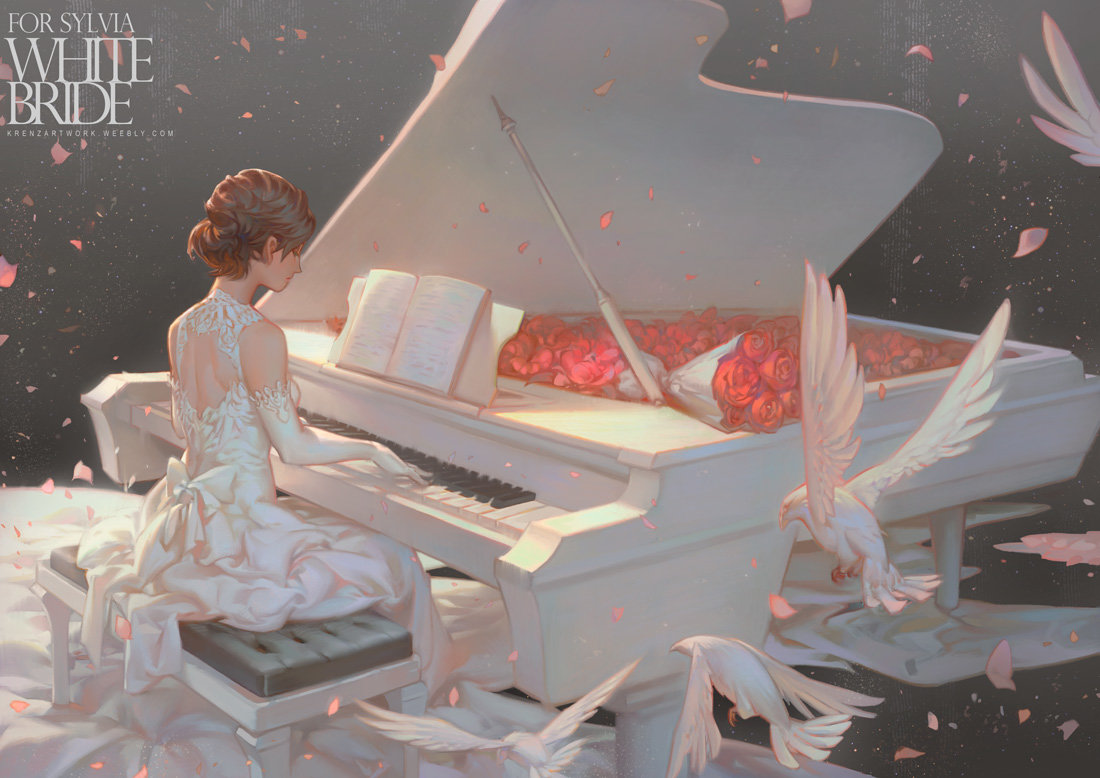 Krenz_Cushart_digital_painting_illustration_bride_piano_scenery