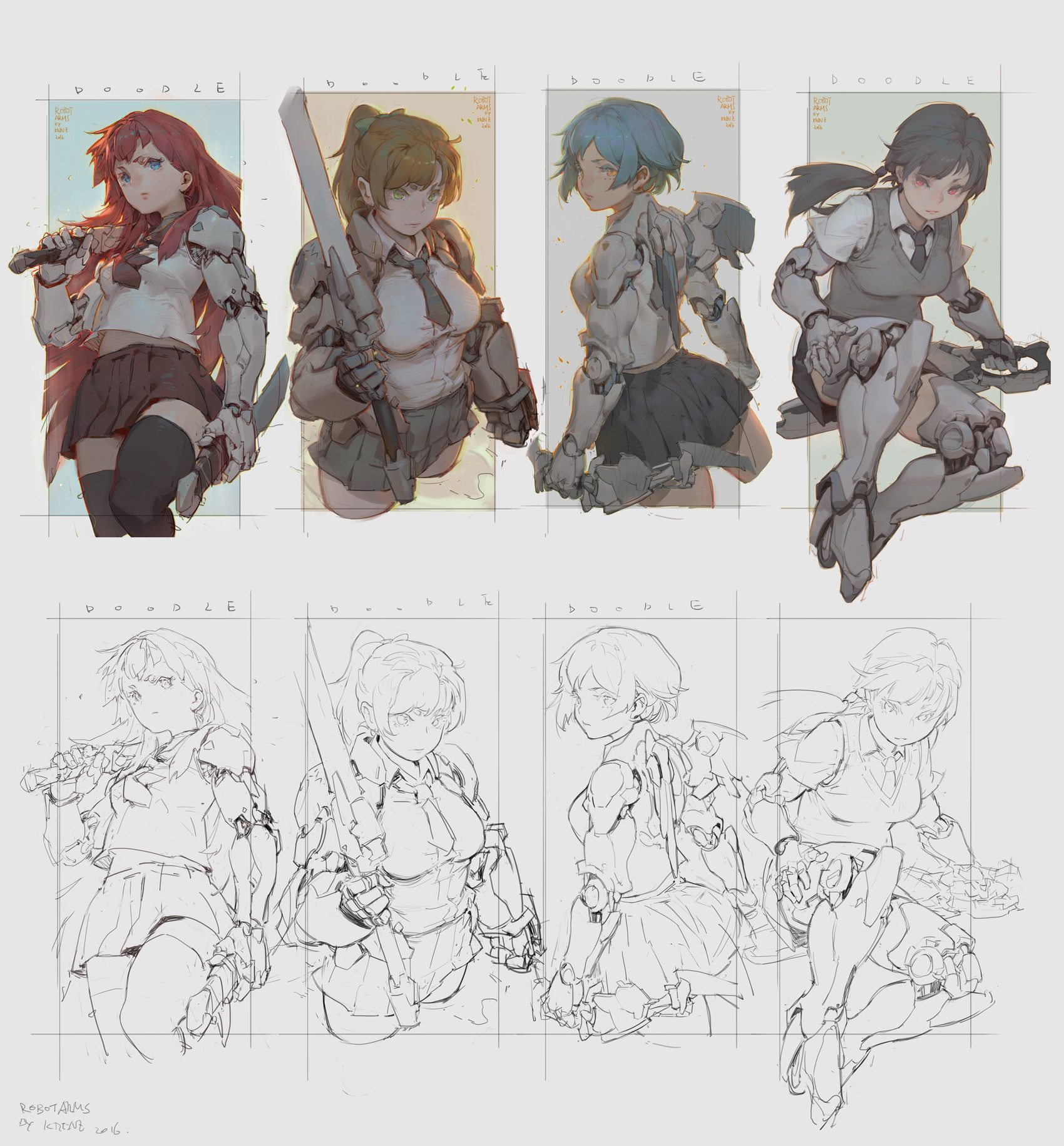 Krenz_Cushart_digital_painting_illustration_robot_girl_doodle