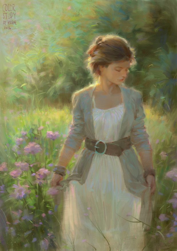 Krenz_Cushart_digital_painting_illustration_study_girl_flowers