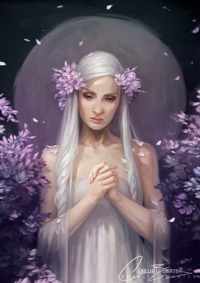 Charlie_Bowater_digital_painting_illustration_girl_white_lilas